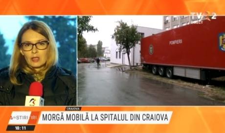 Morgă mobilă la Spitalul Judeţean de Urgenţă din Craiova. Unitatea nu mai face față numărului pacienților care au murit de Covid-19