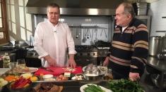 Florin Călinescu face show în bucătăria lui Dinescu