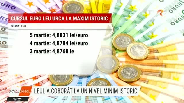 Moneda națională, la un minim istoric față de euro. Specialiștii pun deprecierea pe seama cererii crescute de euro