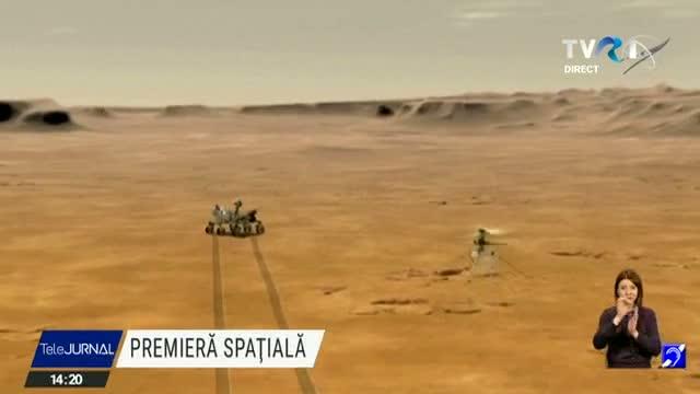 Mini-elicopterul NASA aflat pe Marte a reușit primul zbor al omenirii cu decolare și aterizare pe o altă planetă