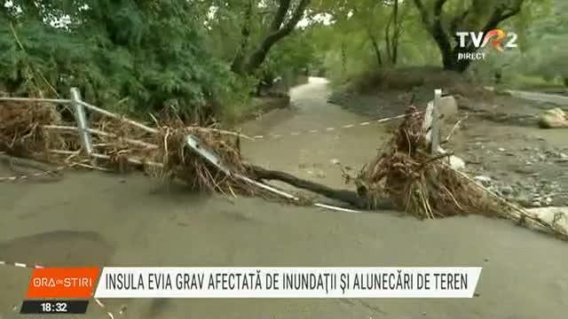 După o vară de coșmar, insula grecească Evia este grav afectată de inundaţii şi alunecări de teren